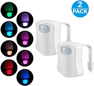 Original Toilet Night Light 2 Pack, Motion Sensor Activated LED Lamp, Fun 8 Colors Changing Bathroom Nightlight Add on Toilet Bowl Seat, Perfect Decorating Gadget Cool Gift for Dad Adults Kids Toddler