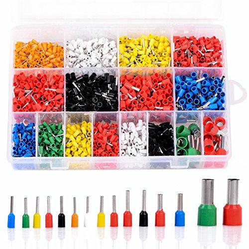 UKCOCO - Set da 2120 pezzi di boccole per cavi, assortimento di capicorda isolanti, con scatola