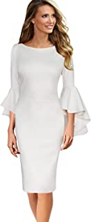 Womens Ruffle Bell Sleeves Business Cocktail Party...
