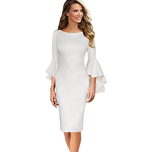 2e97b9530aa VfEmage Womens Elegant Bell Sleeve Wear to Work Party Cocktail Sheath Dress