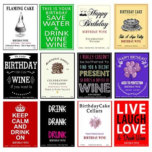 American Art Classics Set of 12 - Funny Birthday Wine Bottle Labels - 5 Inch X 4 Inch American Classic Wine Set