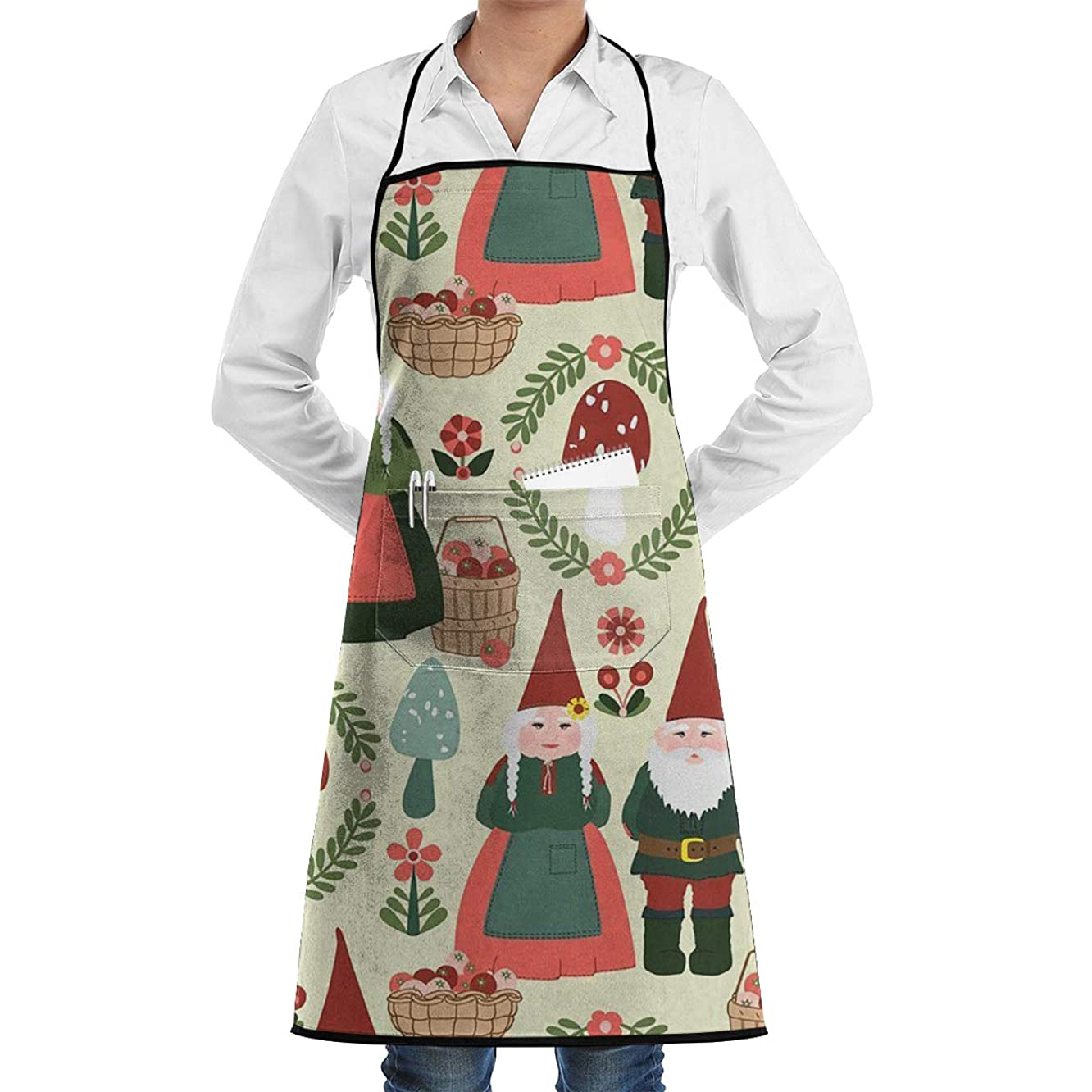 CRSJBB219 Gnomes Xmas Adjustable Kitchen Chef Apron with Pocket & Extra-Long Ties,Men & Women Bib Apron Cute Apron for Cooking,Baking,Crafting,Gardening,BBQ