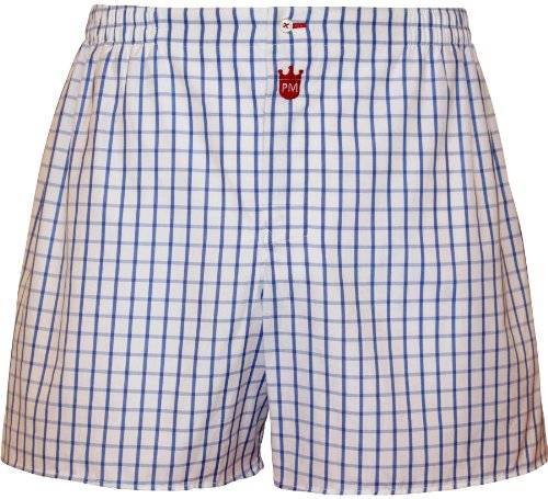 Boxershorts heren van katoen: Premium heren ondergoed Gentleman, overkaro in lichtblauw-blauw - designer broek, lange broekspijpen boxershorts