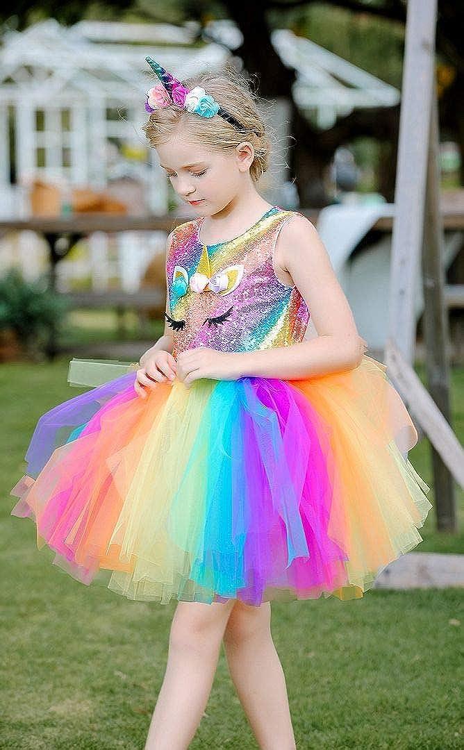 Bow DreamRainbow Unicorn Costume Dress for Girls Birthday Party Photo Shoot with Headband