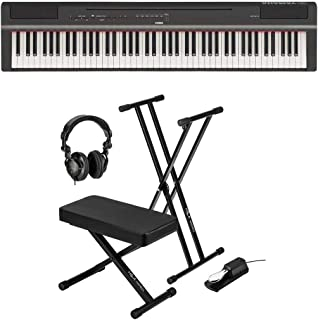 Yamaha P-125 88-Note Digital Piano with Weighted GHS Action, Black + Keyboard Stand + Keyboard Bench + Keyboard Pedal + Studio Monitor Headphones