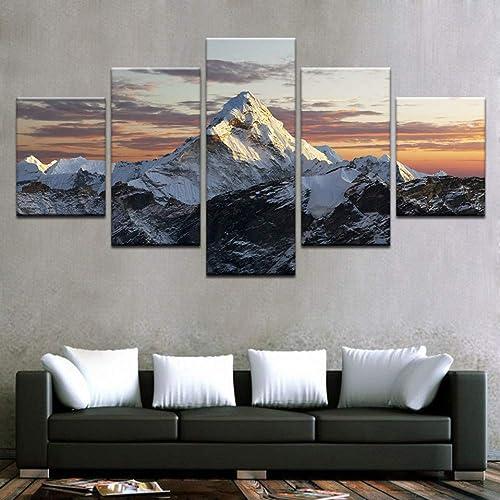 últimos estilos YHEGV Impresiones en Lienzo Lienzo HD HD HD Impresiones Pinturas Decoración para el hogar Sala de Estar 5 Piezas Puesta del Sol Montañas Nevadas Posters Arte de la Parojo Paisaje Marco de Fotos  barato y de moda