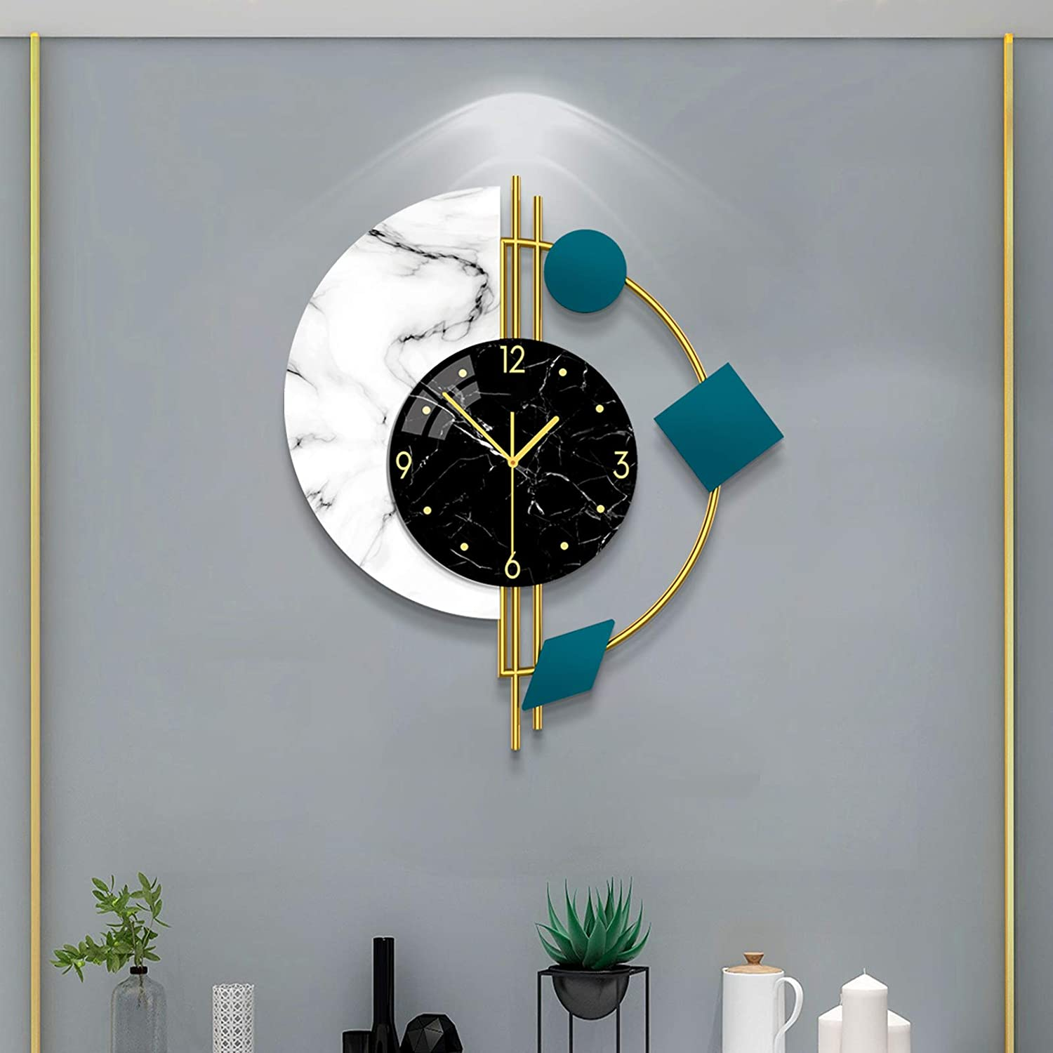 YIJIDECOR Large Wall Clocks for Living Room Decor Modern Silent Wall Clocks Battery Operated Non-Ticking for Bedroom Office Kitchen Home Metal Glass Decoration Wall Watch Clock Quartz for Indoor House