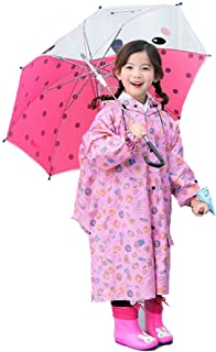 Anytop キッズレインコート 子供用レインスーツ キッズポンチョ レインウェア カッパ 子供 雨具 (ピンク) L(90-110cm)