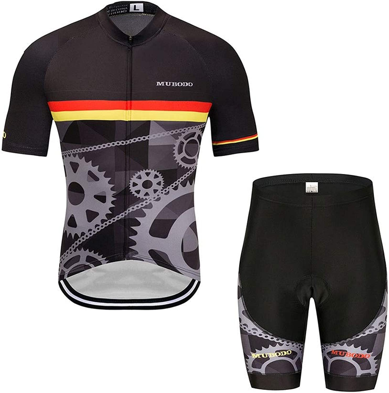 Outdoors Cycling Clothing Short Sleeve Cycling Jersey 3D Padded Bib Short Set Quick-Dry Polyester
