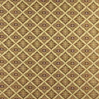 Designer Fabrics K0012H 54 in. Wide Gold44; Brown And Ivory Embroidered44; Diamond Brocade44; Upholstery And Window Treatm...