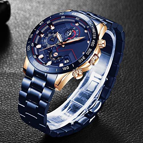 Voigoo Herren-Uhren mit Edelstahl-Top-Marke Sport Chronograph Quarz-Uhr-Mann-Relogio Masculino