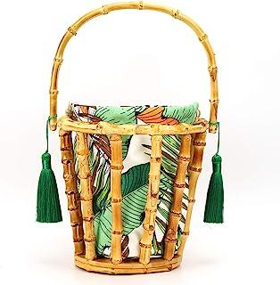 Haokaini Sac Tissé en Bambou Sac Fourre-Tout Tissé à La Main Sac à Main avec Pompon Et Sac en Tissu Sac Seau Creux Fourre-...