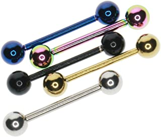 Baosity 5 Pieces 316L Stainless Steel Lip Tongue Shield Barbell Ear Studs Bar Mixed Color 14mm/16mm