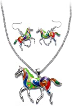 Colorful Horse Pendant Necklace Earring Animal Jewelry Set Men Women Fashion Party Wear Gift For Women Girl