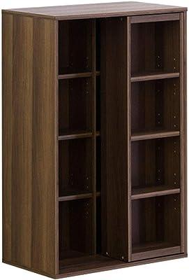クロシオ 書棚 ウォールナット カラー 幅57.5cm スライド書棚 本棚 コミック 大容量 093325