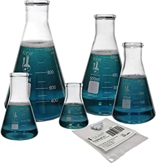 Glass Erlenmeyer Flask Set with Magnetic Stir Bar Set, 5 Sizes - 50, 150, 250, 500, and 1L, 3.3 Boro. Glass, Karter Scientific 213B4