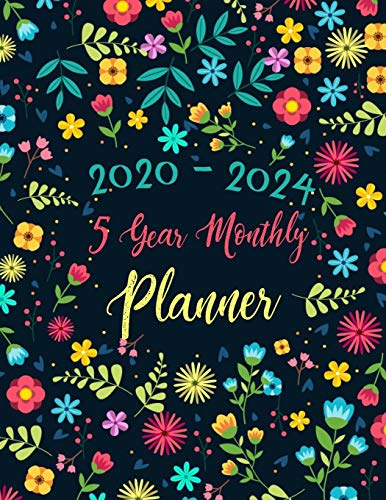 5 year monthly planner 2020-2024: 60 Months Calendar with Federal Holidays | Appointment Notebook | Agenda Schedule Organizer Logbook | Inspirational ... 5 Planner Flower Watercolor, Band 4)