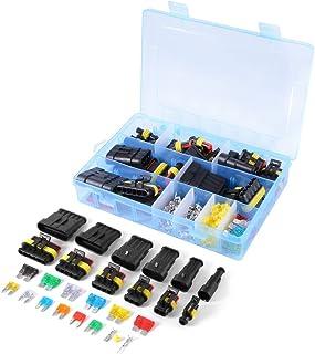WINGONEER Auto Wasserdichte elektrische Steckverbinder Klemme 1/2/3/4/5/6 Pin Way + Sicherungen   240PCS