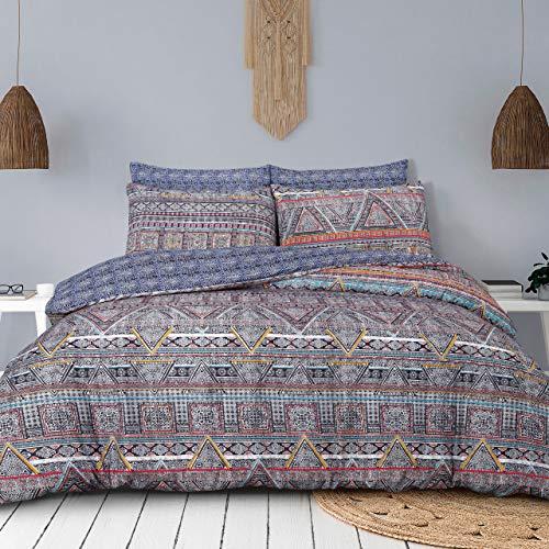 Sleepdown Ethnic Traveller Multi Colour Abstract Reversible Soft Duvet Cover Quilt Bedding Set With Pillowcases - Double (220cm x 230cm)