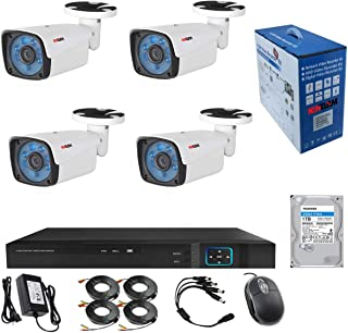 1TB HDD installed 4Channel CCTV security Kit 1080P/2.0MP 1920X1080 Camera 4CH Surveillance DVR kit with 4pcs 2.0mp 1080P Metal Outdoor Bullet Camera Alarm System&P2P Home Security
