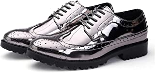 Men's Fashionable Shiney PU Leather Vamp Lace Up Breathable Shoes Outdoor (Color : Silver, Size : 41 EU)
