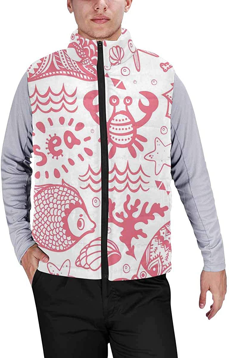 InterestPrint Men's Lightweight Keep Warm Puffer Vest for Outdoor Set of Fish and Shells XS