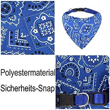 Chiens de Mode Bandana Foulards Ajustable pour Chiot Petit Chien Chat (M, Bleu)