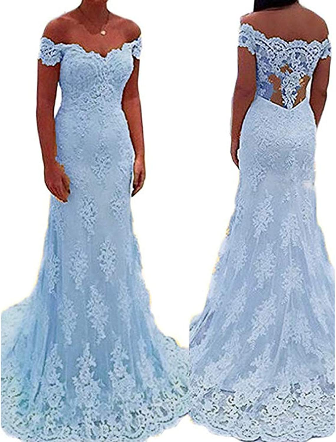 YNQNFS Women's lace Appliques Homecoming Prom Long Dresses Mermaid Bridesmaids Gowns