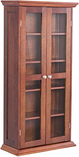 TV & Media Furniture ✅Tangkula Multimedia DVD/CD Storage Cabinet, Wooden Media Storage Cabinet, Multi-Functional Home Furniture Media Storage Tower with Tempered Glass Door, Brown
