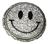 Bügel Iron on Smiley Aufnäher Patches Glitzer für Jacken Cap Hosen Jeans Kleidung Stoff Kleider Bügelbilder Sticker Applikation Aufbügler zum aufbügeln Farbvarianten 6 cm (Silber)