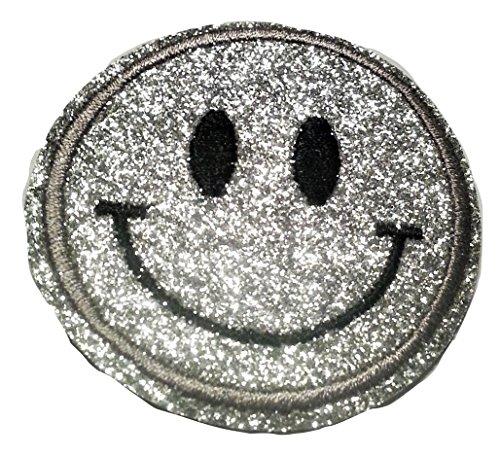 Bügel Iron on Smiley Aufnäher Patches Glitzer für Jacken Cap Hosen Jeans Kleidung Stoff Kleider Bügelbilder Sticker Applikation Aufbügler zum aufbügeln Farbvarianten ca 6 bis 6.5 cm (Silber)