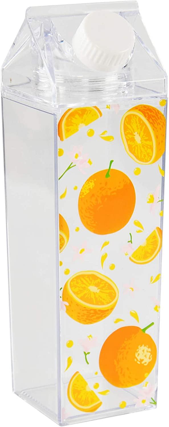 Home-X Orange Design Milk Carton Water Bottle with Twist-Off Top, Reusable Acrylic Water Bottle for Sports, Hiking, and Travel, 16 Ounces, 8