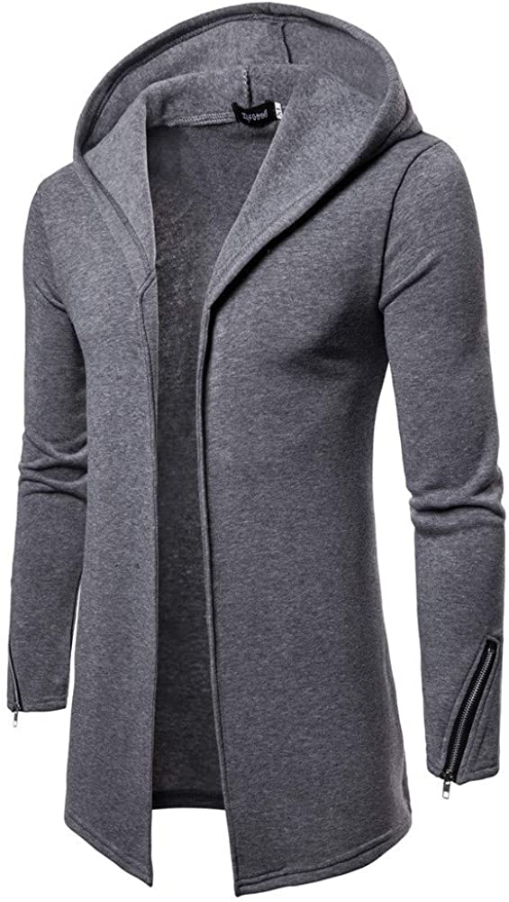 Clearance!! Men's Hooded Zipper Trench Coat Solid Long Sleeve Jacket Cardigan Outwear Blouse