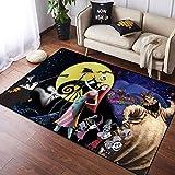 Coobal The Nightmare Before Christmas Home Decor Alfombra grande para el suelo de yoga, alfombra de dormitorio para niños sala de juegos dormitorio 3 x 5 pies (90 x 150 cm)