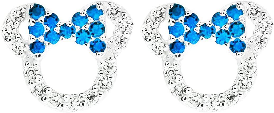 MixiuEuro Girls mickey Mouse Stud Earrings 925 Sterling Silver Amethyst Green Blue CZ Cubic Zirconia minnie mouse Stud Earrings Jewellery Gift For Girls Child