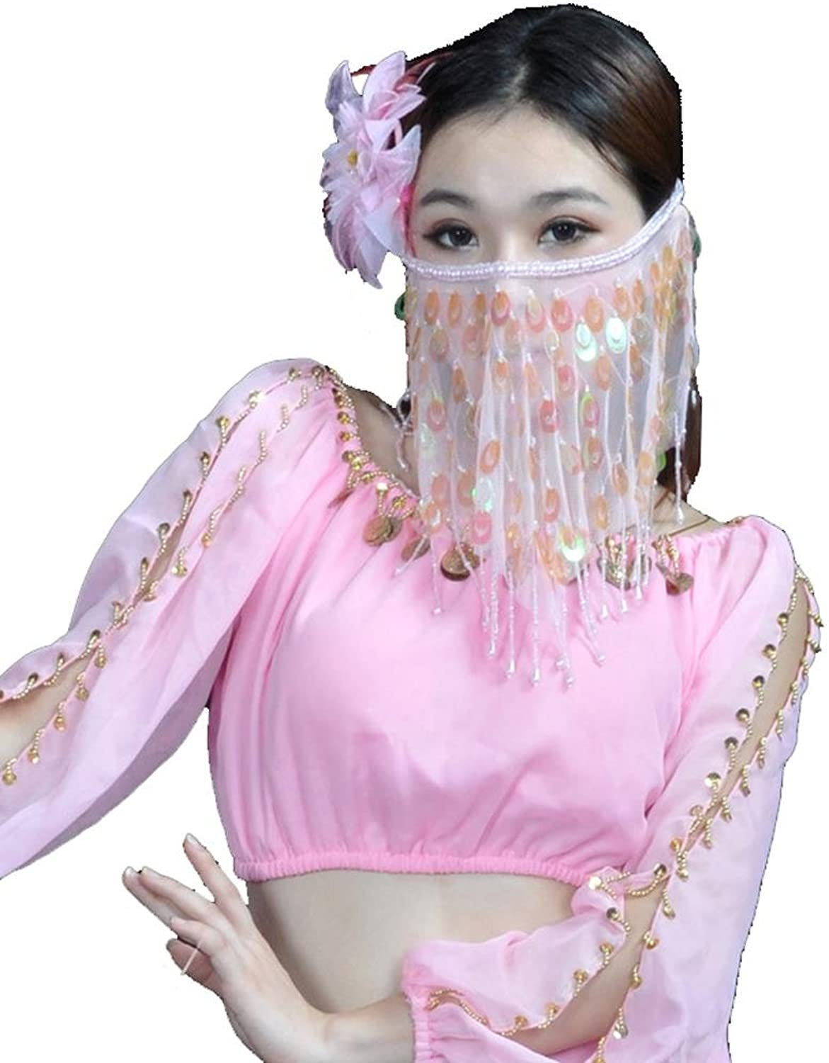 Byjia Belly Dance Tribal Face Veil with Beads Peacock Style Performance Accessories