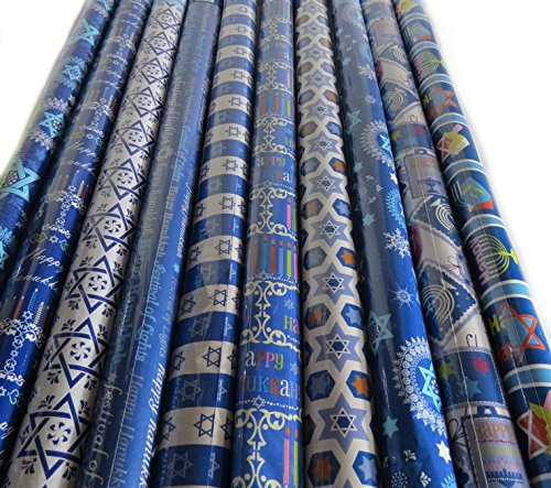 6 Roll-Count Hanukkah Gift Wrap in Assorted Designs - 300 Square feet.