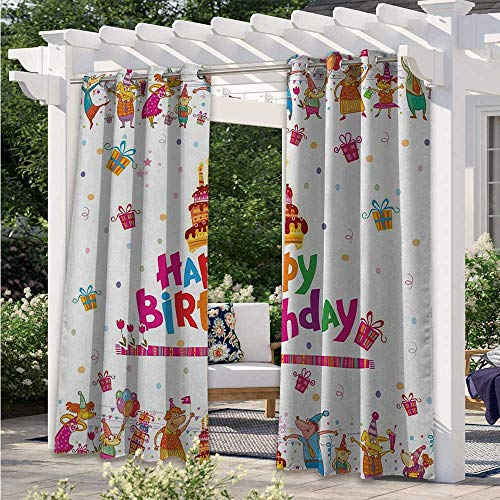 Adorise Indoor Outdoor Curtains Joyful Mouses Partying Presents and Delicious Cake with Candles Festive Cartoon Waterproof Patio Door Panel Perfect for Your Pergola Multicolor W84 x L84 Inch