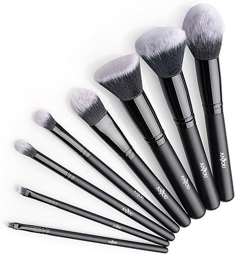 Anjou Brochas Maquillaje Profesional 8 Piezas, Set Brochas de Maquillaje 100% Libre de Crueldad y Vegano con Cerdas S...