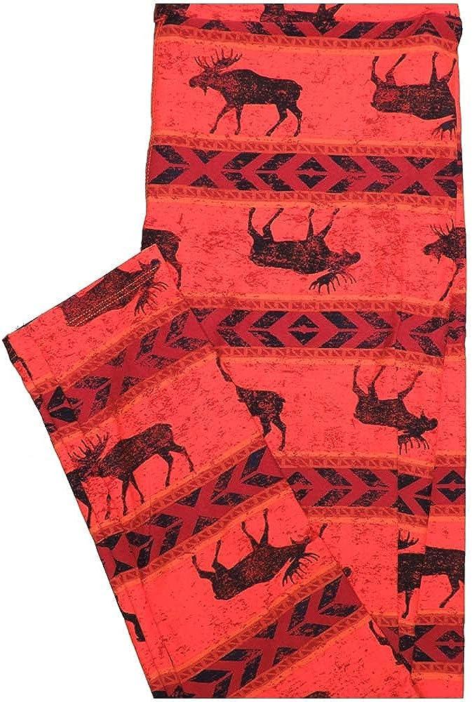 Lularoe One Size OS Moose Stripe Chevron Light Red Dark Red Black Leggings (OS fits Adults 2-10)