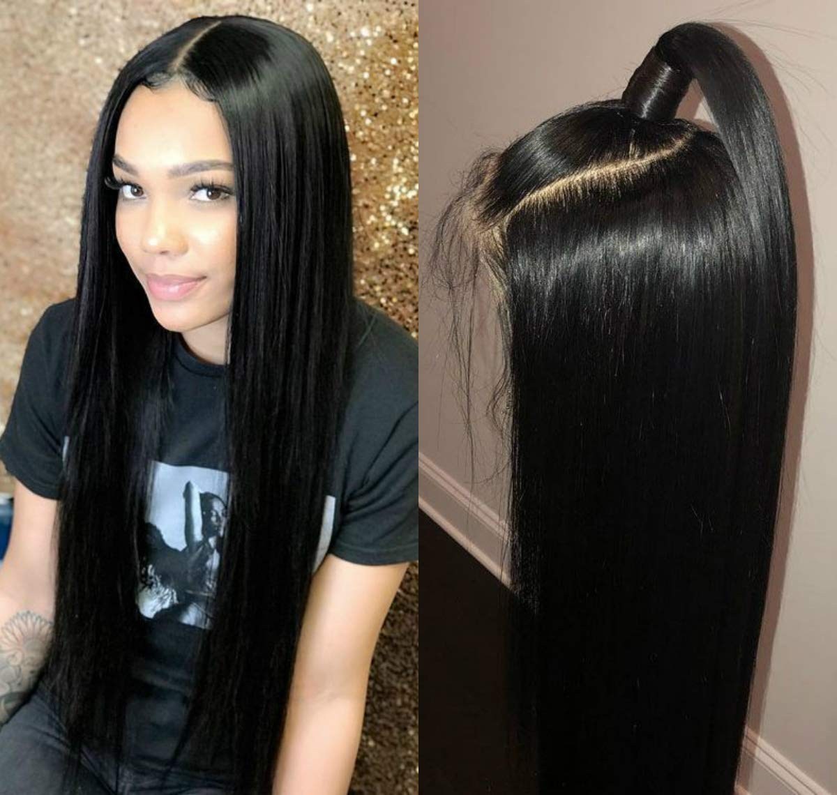 Straight Lace Year-end annual account Front New popularity Wigs Natural Hairline S Black Synthetic