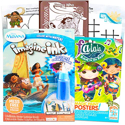 Disney Moana Imagine Ink Book Set Kids Activity Bundle - Moana Water Surprise Coloring Book with Falala Tattoos, Stickers, and More (Party Supplies, Party Favors)