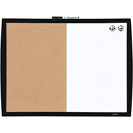 "Quartet Combination Magnetic Whiteboard & Corkboard, 17"" x 23"", Combo White Board & Cork Board, Curved Frame, Perfect for Office & Home Decor, Home School Message Board, Black (41723-BK)"