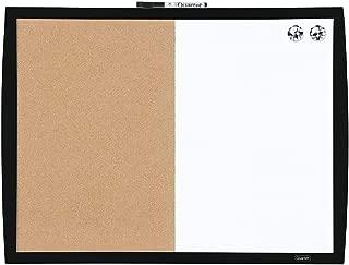 Quartet Combination Magnetic Whiteboard & Corkboard, 17 x 23 inches, Combo White Board & Cork Board, Curved Frame, Black (41723-BK)