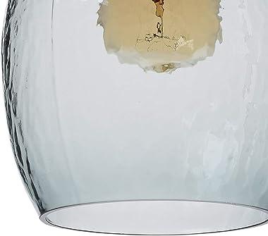 CASAMOTION Pendant Light Handblown Glass Drop Hanging Light, Glass Bell Pendant, Light Grey Blue Glass Shade, Matte Black Fin