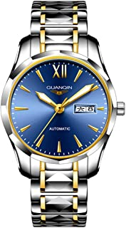 Guanqin Men Automatic Wrist Watch with Scratch-resistant Sapphire Crystal Lens Tungsten Steel Bracelet Self Winding Watches for Male Gold Blue