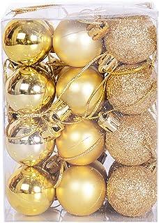 Starvido Bolas de Navidad de 3cm, Adornos Navideños para Arbol, Decoración de Bolas de Navidad Inastillable Plástico de Dorado, Regalos de Colgantes de Navidad