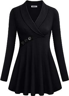 MOQIVGI Womens Tops V Neck Long Sleeve Shawl Collar Button Decor Tunic Blouses