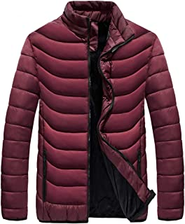 Mens Winter Quilted Insulated Thickened Jacket Puffer with Thermal Fleece Lined Coats