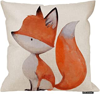 """HGOD DESIGNS Fox Throw Pillow Covers,Cute Watercolor Fox On White Background Pillowcase Home Decor for Sofa Bed Living Room 20""""X20"""""""